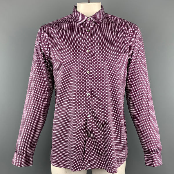 TED BAKER Size XL Purple Print Cotton Button Up Long Sleeve Shirt
