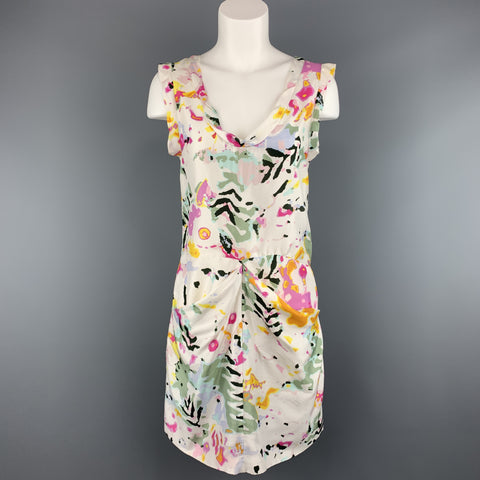 THAKOON Size 4 White Floral Print Silk Sleeveless Dress