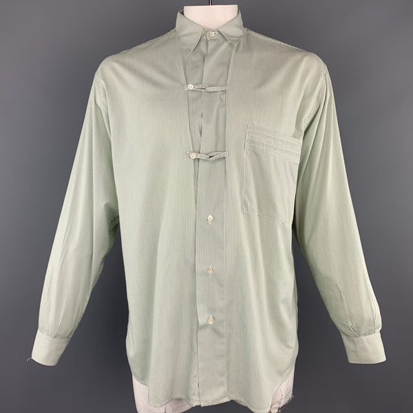 THE TAILORED MAN Size M Green Stripe Cotton Patch Pocket Long Sleeve Shirt