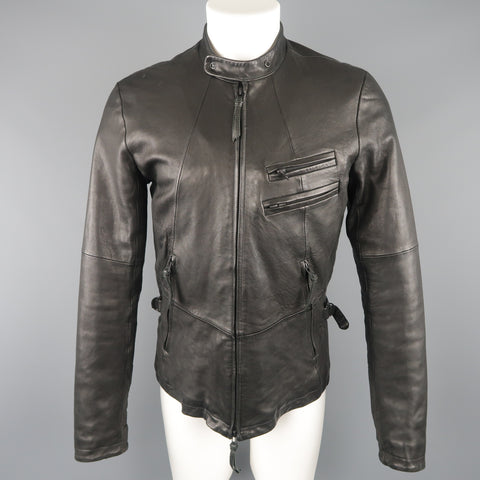 THE VIRIDI-ANNE 38 Black Lambskin Leather Band Collar Motorcycle Jacket