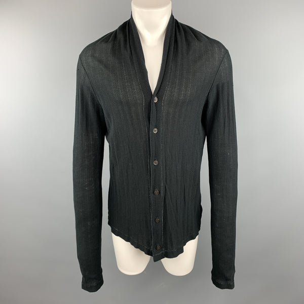 THE VIRIDI-ANNE Size M Black Knitted Cotton Buttoned Cardigan Sweater