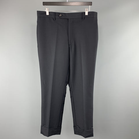 THEORY Size 34 x 34 Black Solid Wool Zip Fly Dress Pants