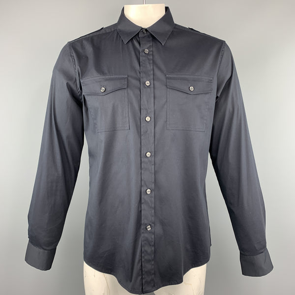 THEORY Size L Black Solid Cotton Blend Button Up Long Sleeve Shirt
