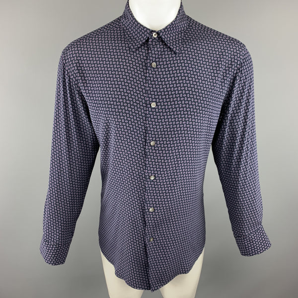 THEORY Size M Navy Print Silk Blend Button Up Long Sleeve Shirt