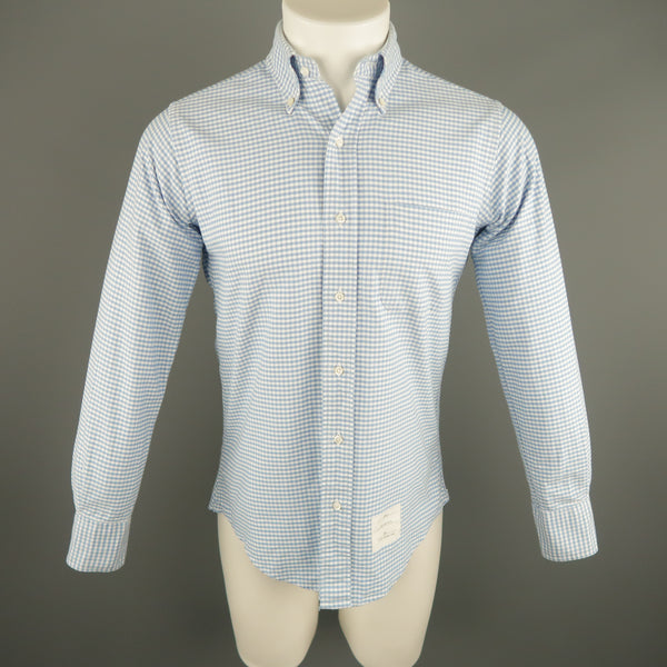 THOM BROWNE Size S Blue & White Checkered Cotton Long Sleeve Shirt