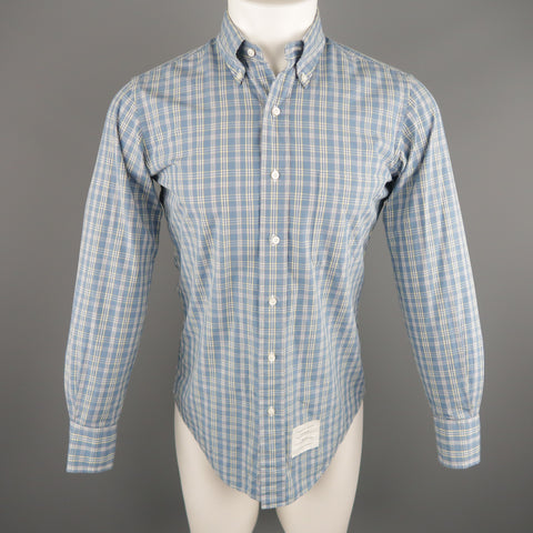 THOM BROWNE Size S Blue Plaid Cotton Long Sleeve Shirt