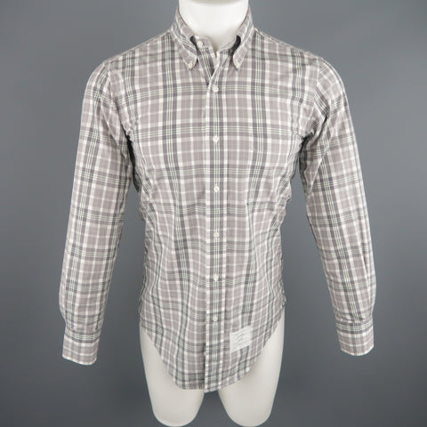 THOM BROWNE Size S Grey Plaid Cotton Long Sleeve Shirt