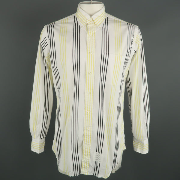 THOM BROWNE Size XL White & Black & Yellow Stripe Cotton Long Sleeve Shirt