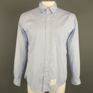 THOM BROWNE Size XXL Blue Glenplaid Cotton Button Up Long Sleeve Shirt
