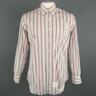 THOM BROWNE Size XXL Light Grey Stripe Cotton Button Down Long Sleeve Shirt