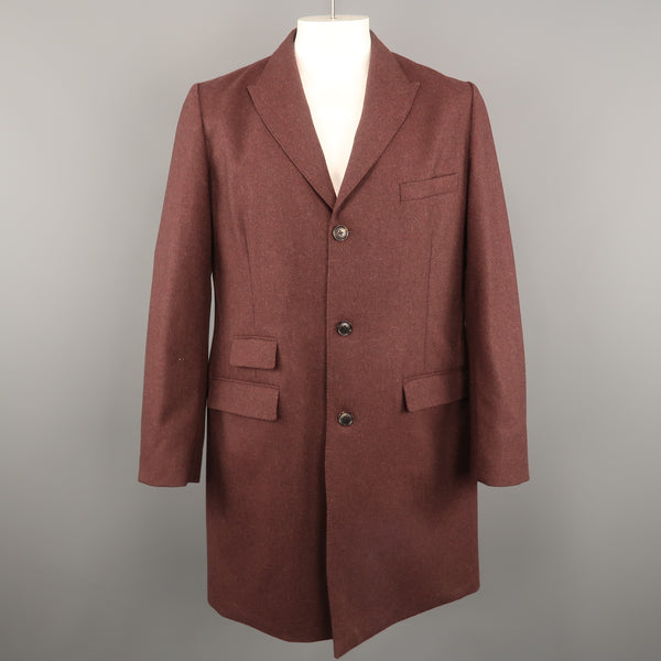 TODD SNYDER Chest Size L Burgundy Heather Wool Blend Peak Lapel Coat