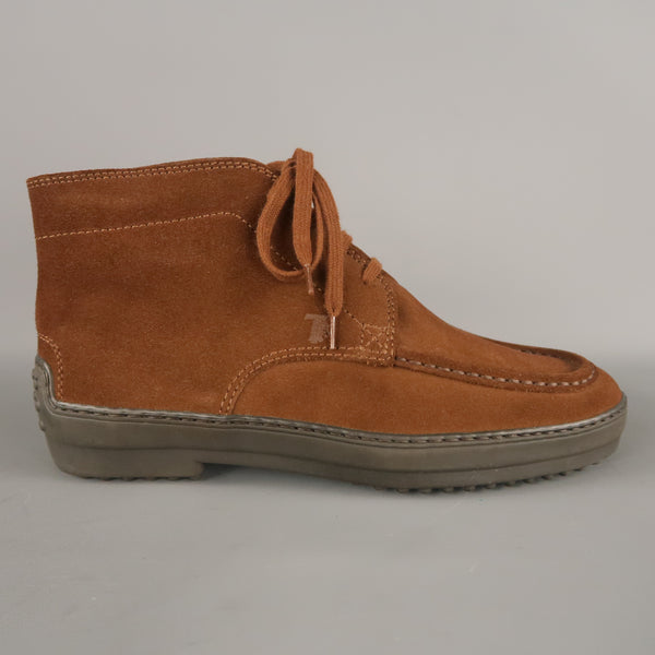 TOD'S Size 7 Brown Suede Vivram Sole Chukka Boots