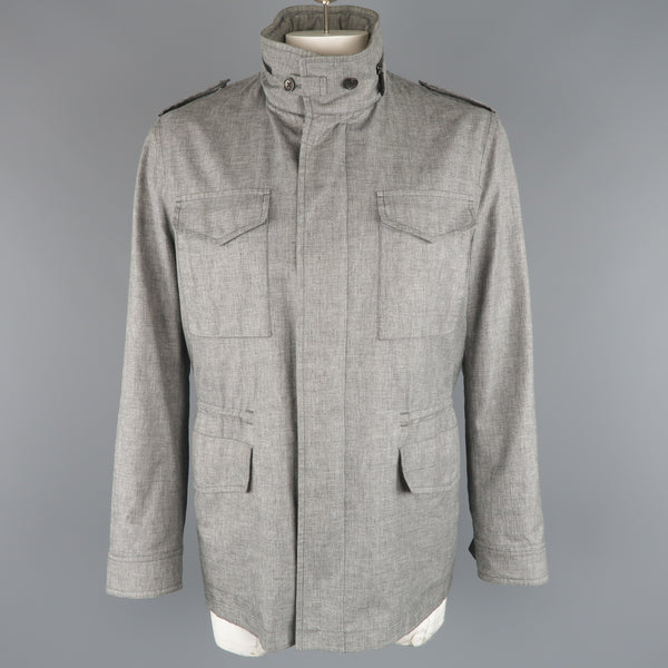 TOM FORD 46 Heather Gray Linen / Wool / Silk Parka Jacket