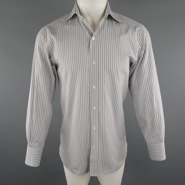 TOM FORD Size M Grey Stripe Cotton Long Sleeve Shirt