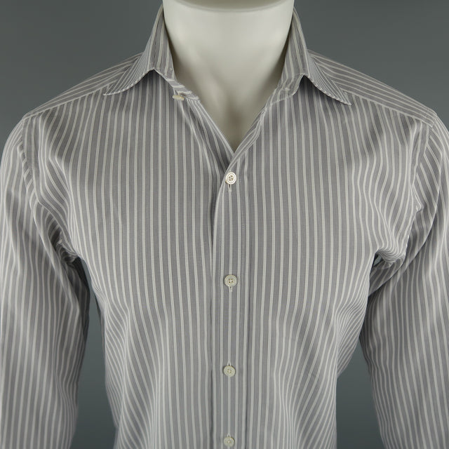 a1bb30f1fa TOM FORD Size M Grey Stripe Cotton Long Sleeve Shirt – Sui Generis Designer  Consignment