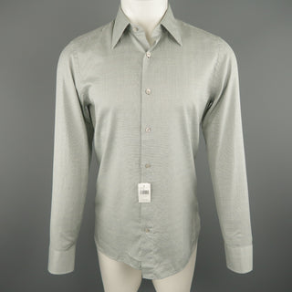 TOM FORD Size M Olive Plaid Cotton Long Sleeve Shirt