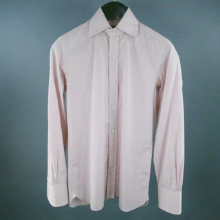 TOM FORD Size M Pink Micro Plaid Cotton Long Sleeve Shirt