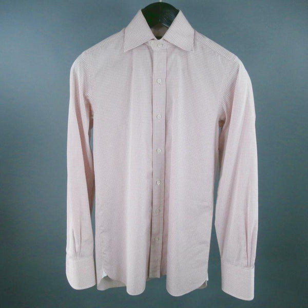 TOM FORD Size M Pink Micro Plaid Cotton Long Sleeve Shirt - Sui Generis Designer Consignment