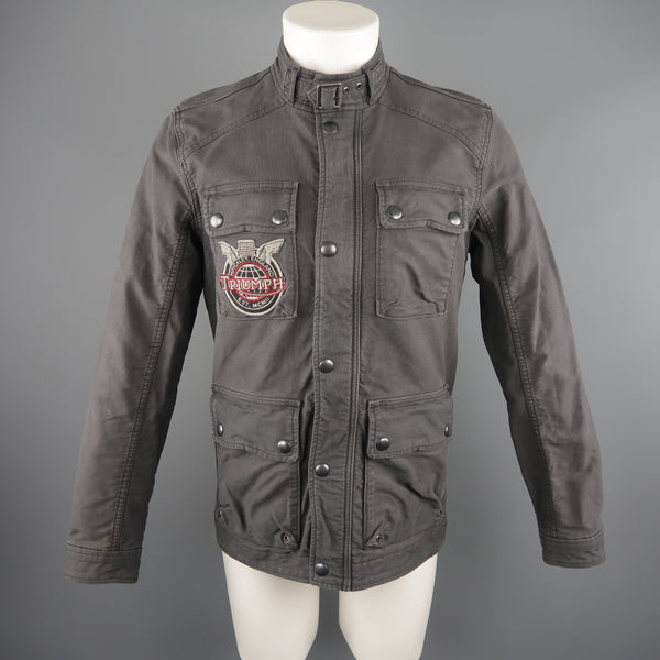 TRIUMPH for LUCKY BRAND S Gray Motorcycle Jacket