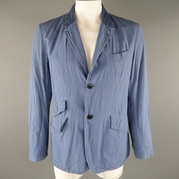 TS (S) L Blue Seersucker Cotton Sport Coat / Blazer