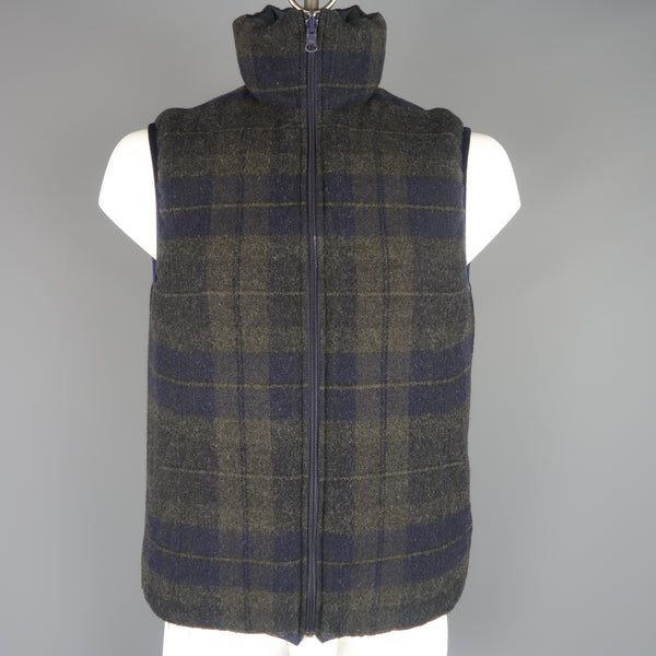 TS (S) L Navy & Olive Plaid Wool Reversible Down High Collar Vest