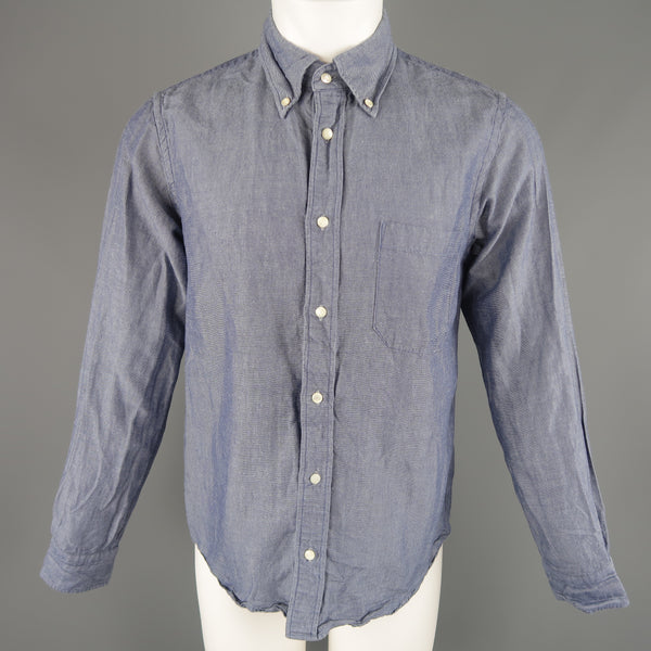 TS (S) Size M Indigo Solid Cotton Pearl Button Long Sleeve Shirt