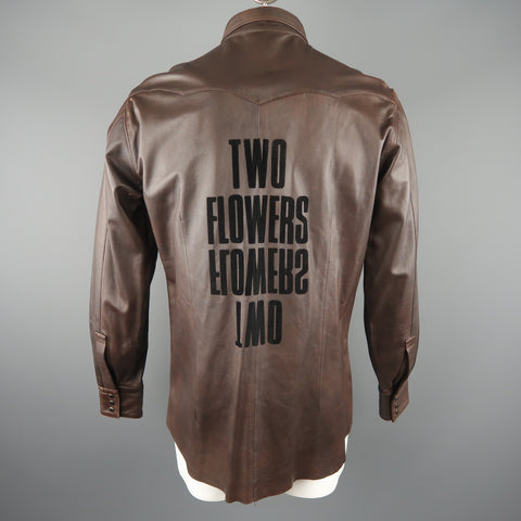 TWO FLOWERS Size XL Brown Leather Long Sleeve Shirt