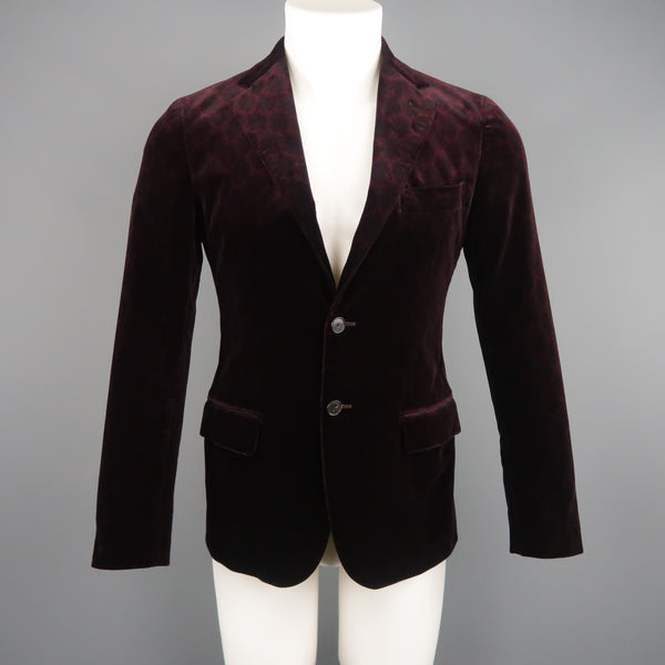 UNITED ARROWS 34 Burgundy Print Velvet Sport Coat