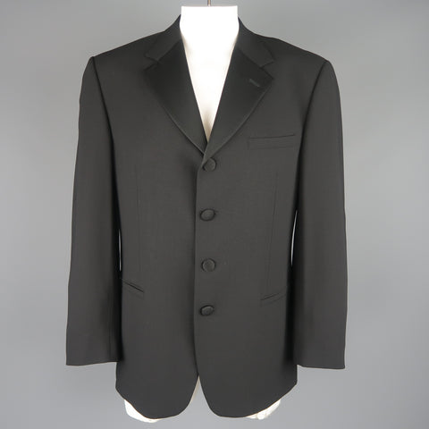V2 by VERSACE 42 Regular Black Wool Blend Satin Lapel Tuxedo Sport Coat