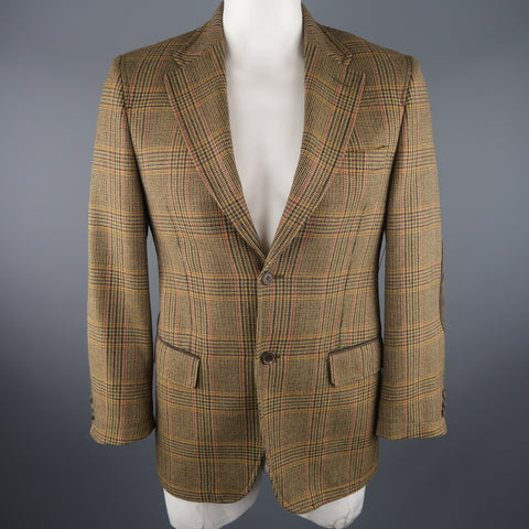 VALENTINO 40 Regular Olive Plaid Wool Sport Coat