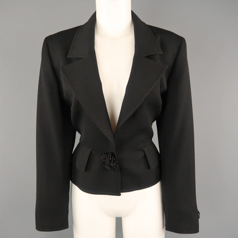 VALENTINO Size 12 Black Wool Jacket Cropped Applique Blazer Jacket