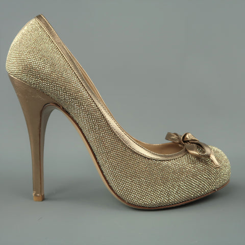 VALENTINO Size 9 Gold Crystal Studded Leather Platform Bow Pumps