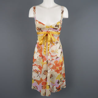 VALENTINO Size M Orange Floral Print Silk Babydoll Dress