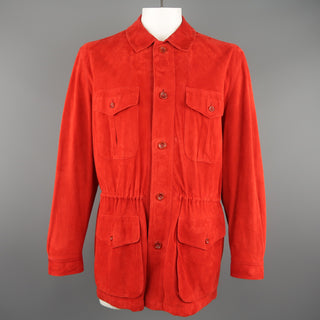 VALSTAR 42 Red Suede Four Pocket Drawstring Waist Coat