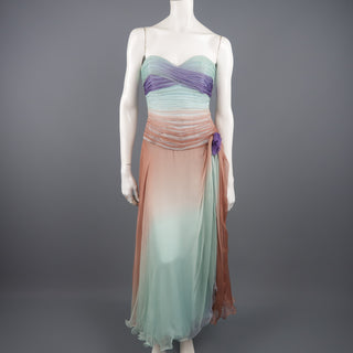 VICKY TIEL COUTURE Size 8 Aqua Tan & Purple Pleated Silk Strapless Dress