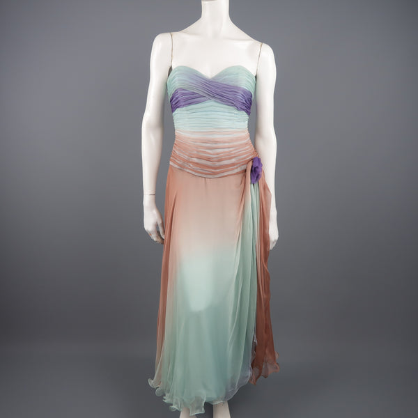 VICKY TIEL COUTURE Size 8 Aqua Tan & Purple Pleated Silk Strapless Dress - Sui Generis Designer Consignment