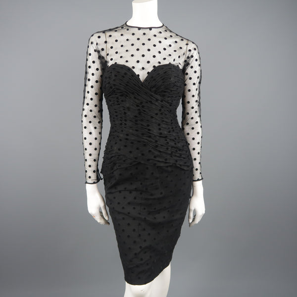 VICKY TIEL COUTURE Size M Black Polka Dot Pleated Silk Tulle Cocktail Dress - Sui Generis Designer Consignment