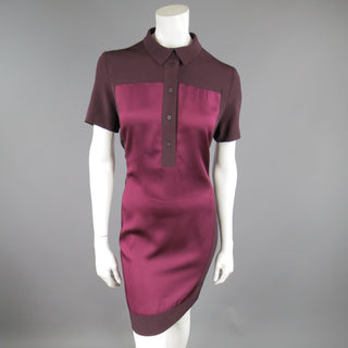 VICTORIA BECKHAM Size 10 Purple & Red Color Block Shirt Dress