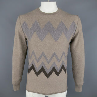 VIKTOR & ROLF Size M Taupe Knit Textured Zig Zag Wool / Mohair Pullover