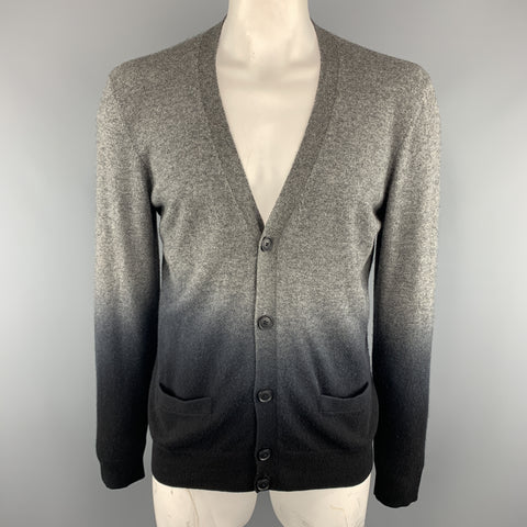 VINCE Size XL Black & Grey Ombre Cashmere V-Neck Cardigan Sweater