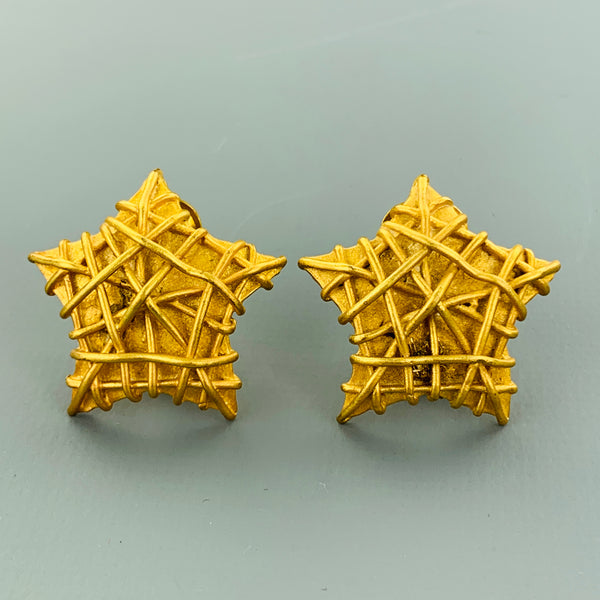 VINTAGE Gold Tone Metal Textured Star Clip On Earrings