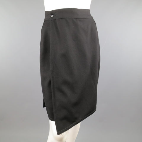 Vintage 1980's GIANNI VERSACE Size 6 Black Wool Wrap Panel Pencil Skirt