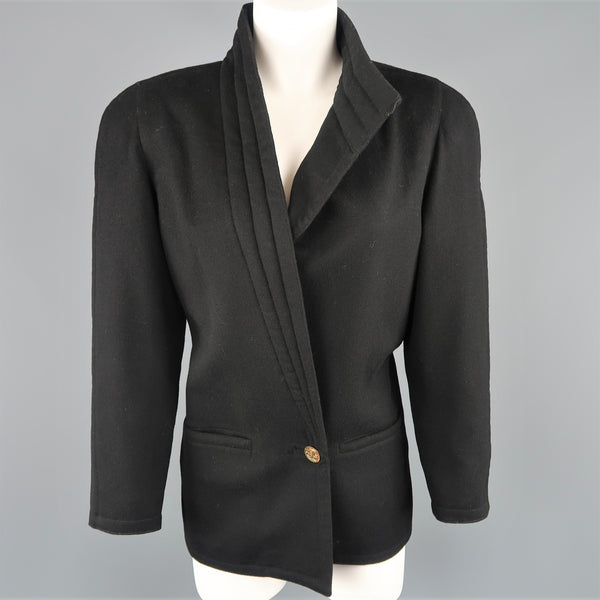 Vintage 1980s GIANNI VERSACE Size 8 Black Wrap Collar Coat