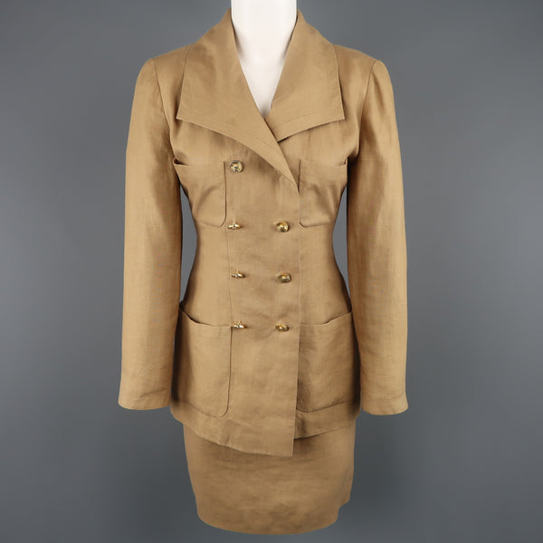 Vintage 1990 CHANEL Size 4 Tan Linen Double Breasted Skirt Suit
