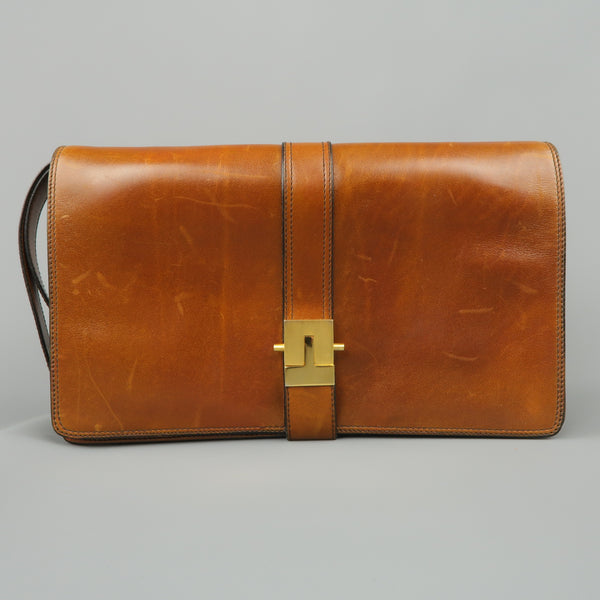 Vintage A.TESTONI Tan Leather Wristlet Clutch - Sui Generis Designer Consignment