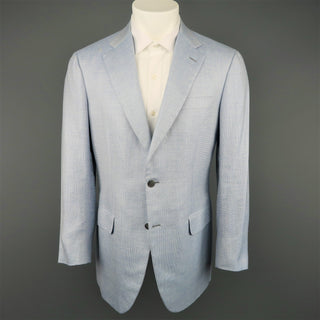Vintage BRIONI 40 Light Blue Wool Blend Notch Lapel Sport Coat
