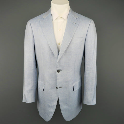 Vintage BRIONI 40 Light Blue Wool Blend Notch Lapel Sport Coat - Sui Generis Designer Consignment