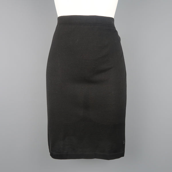 Vintage CHANEL Size 8 Black Viscose Jersey Pencil Skirt