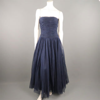 Vintage CHANEL Size US 8 / FR 40 Navy Gathered Silk Strapless Spring 1997 Dress