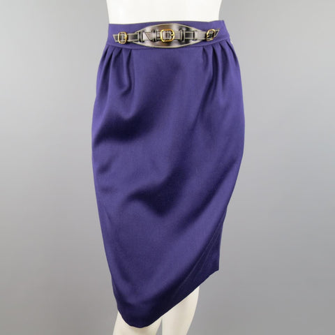 Vintage HERMES Size 4 Purple Wool Leather Belt Front Pencil Skirt